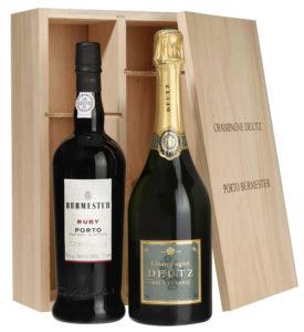 Duo de champagne Deutz Brut Classic et Porto Burmester en coffret cadeau bois sérigraphié