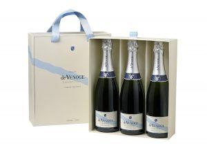 Champagne de Venoge, Cordon bleu brut, coffret cadeau de 3 bouteilles de 75 cl