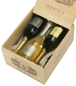 Coffret cadeau Champagne Deutz Trio de cuvées Brut Classic, Amour de Deutz et William Deutz en caisse bois sérigraphiée