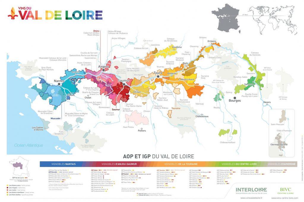 Carte du vignoble du Val de Loire 2019