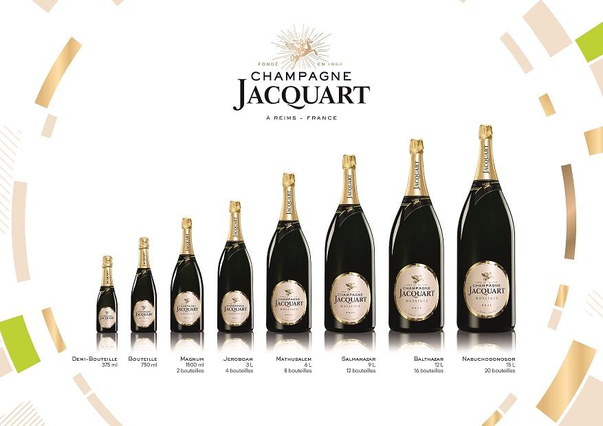 Présentation des grands flacons de Champagne Jacquart en coffret cadeaux bois : magnum, jéroboam, mathusalem, salmanazar, balthazar, nabuchodonosor
